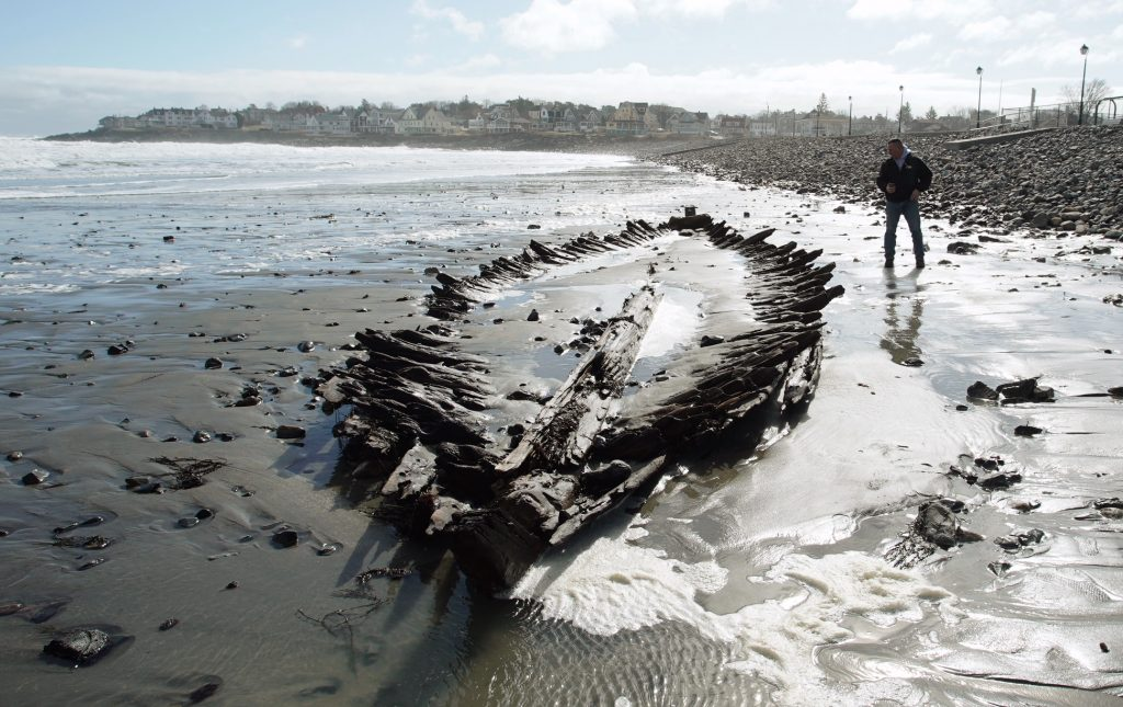 Seldom seen shipwreck re-emerges from York beach sands