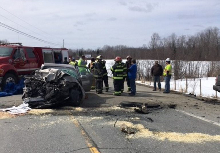 Witnesses say Linda Striga of Palmyra crossed lanes on Route 2 in her 2000 Buick LeSabre and crashed head on into a Dodge pickup truck driven by Darren Maxsimic of Kingfield Thursday, according to Somerset County police. Striga died in the accident.