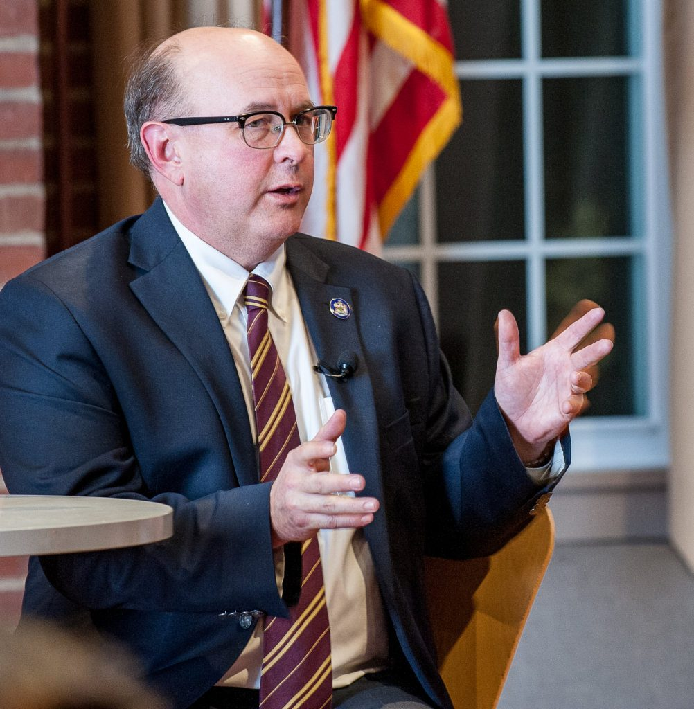 """Maine Secretary of State Matthew Dunlap, seen speaking at Bates College last week, says Lewiston Mayor Shane Bouchard's letter to new voters is """"constructed backwards."""""""