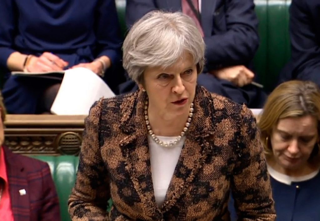 "Britain's Prime Minister Theresa May speaks in the House of Commons in London on Monday, when she said her government has concluded it is ""highly likely"" Russia is responsible for the poisoning of an ex-spy and his daughter. May said that Sergei Skripal and his daughter, Yulia, were exposed to a nerve agent developed in the Soviet Union in the end of the Cold War."