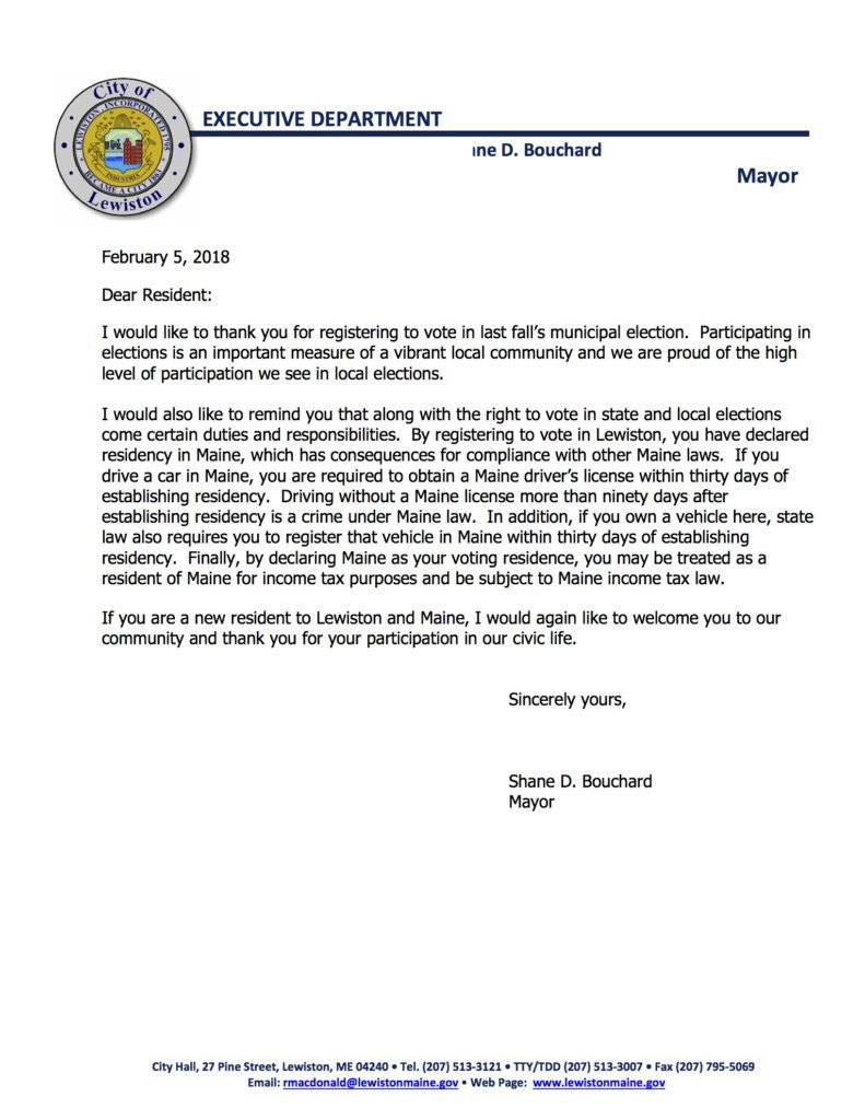 This letter from Mayor Shane Bouchard was sent to 221 people in Lewiston who registered at the polls during last year's election in November and mayoral runoff in December.