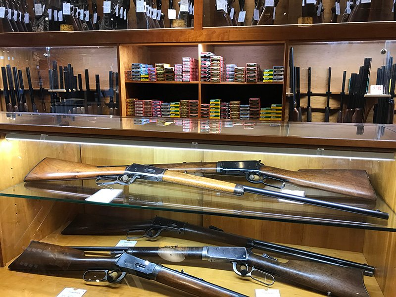 L.L. Bean sells a wide variety of hunting rifles, shotguns and ammunition at its flagship store in Freeport.