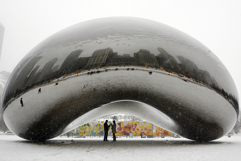 """The 110-ton stainless steel Anish Kapoor sculpture called """"Cloud Gate"""" and nicknamed """"The Bean"""" at Millennium Park in Chicago photographed in 2008."""