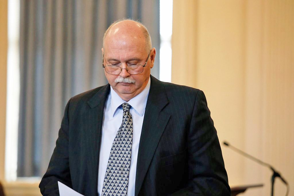 Ricky Plummer, former fire chief for Old Orchard Beach, approaches a podium to read a statement to the judge during a sentencing hearing on Wednesday at York County Court House in Alfred. Plummer was sentenced to nine years in prison, with all but 1 year suspended, and four years of probation.