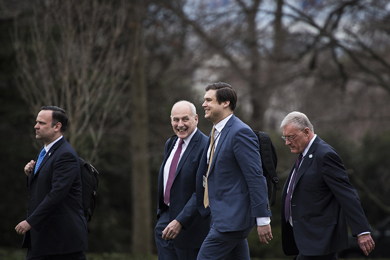 White House Director of Social Media Dan Scavino, White House Chief of Staff John Kelly, White House personnel director Johnny DeStefano, and National Security Council Chief of Staff Keith Kellogg in February.
