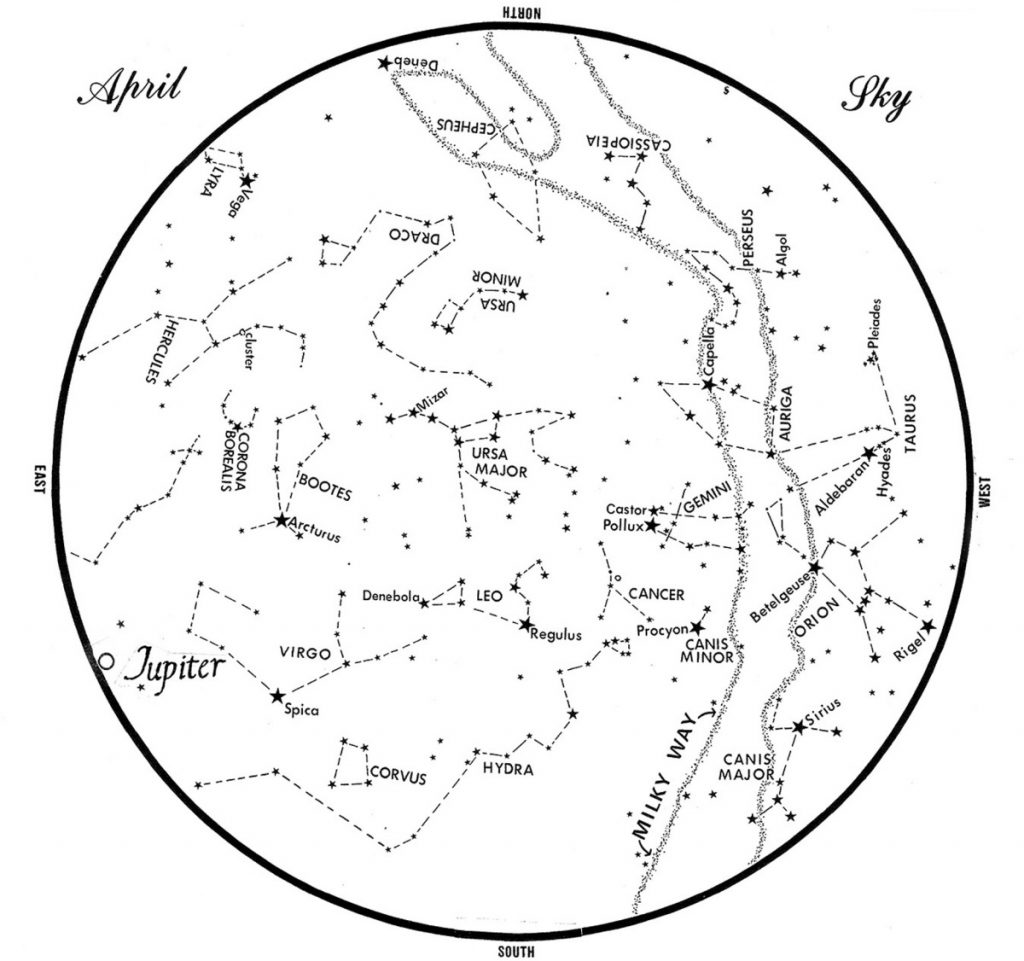 SKY GUIDE: This chart represents the sky as it appears over Maine during April. The stars are shown as they appear at 10:30 p.m. early in the month, at 9:30 p.m. at midmonth and at 8:30 p.m. at month's end. Jupiter is shown in its midmonth position. To use the map, hold it vertically and turn it so that the direction you are facing is at the bottom.