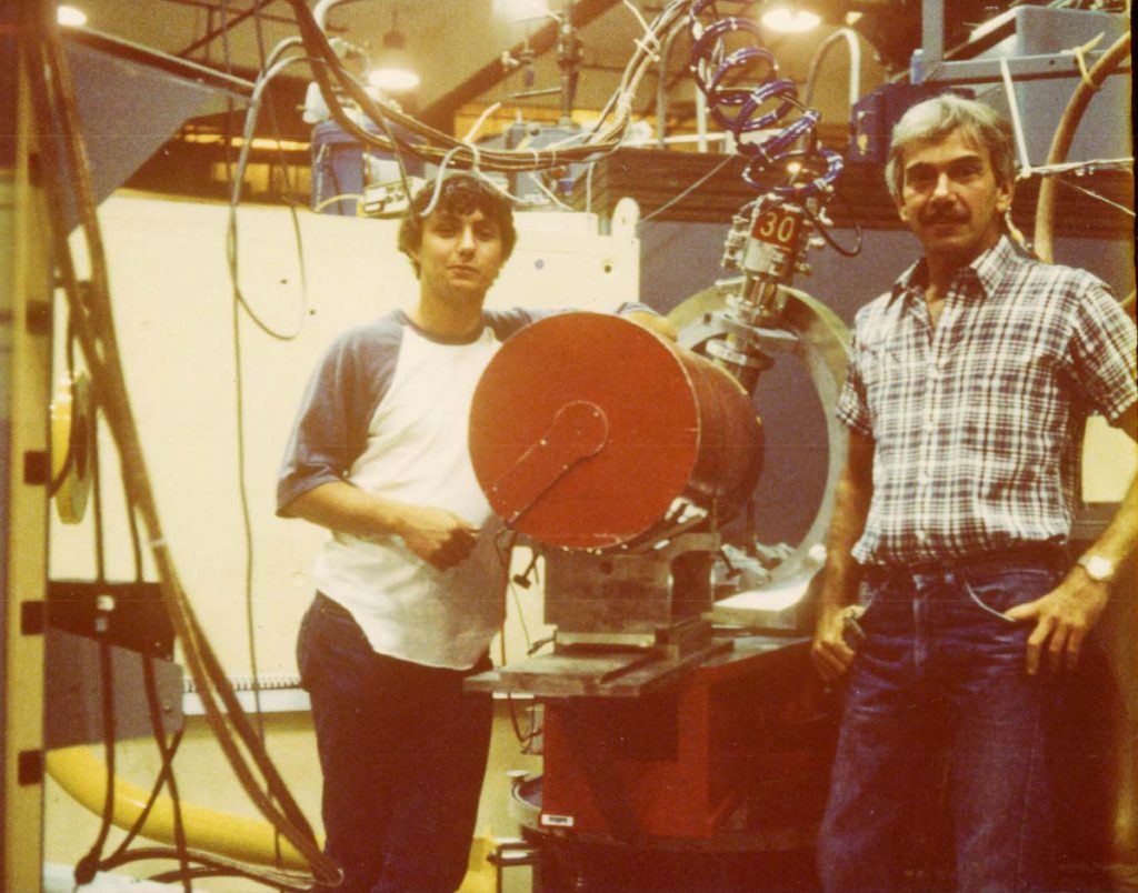 Ray Stevens, left, and then-University of Southern Maine chemistry professor John Ricci, are shown inside a nuclear reactor at Brookhaven National Laboratory on New York's Long Island in 1984.