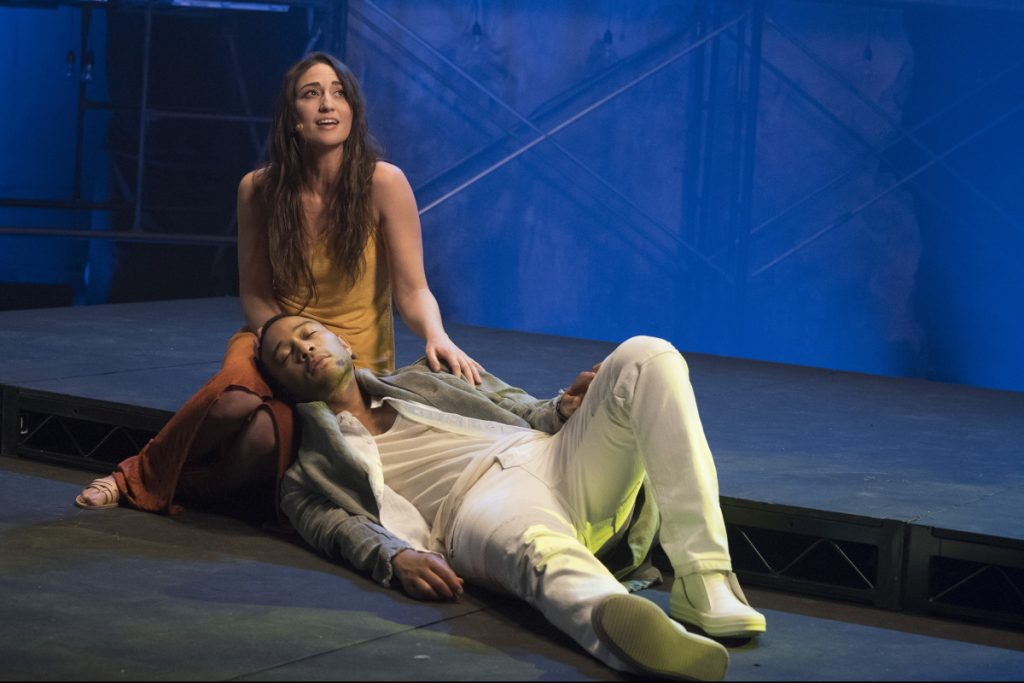 This image released by NBC shows,  John Legend as Jesus Christ, and Sara Bareilles as Mary Magdalene from the NBC production,