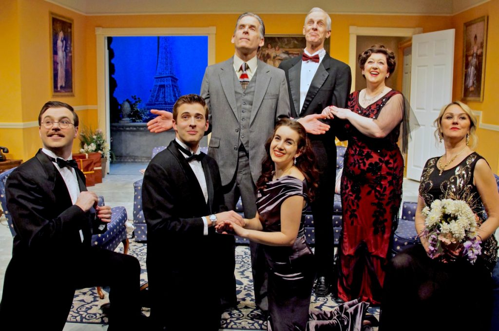 "The cast of Ken Ludwig's ""A Comedy of Tenors"" includes, from left, Jared Mongeau as Max, John Lanham, Paul Haley as Saunders, Hannah Daly as Mimi, Steve Underwood as Tito, Grace Bauer as Maira and Kathleen Kimball as Racon."