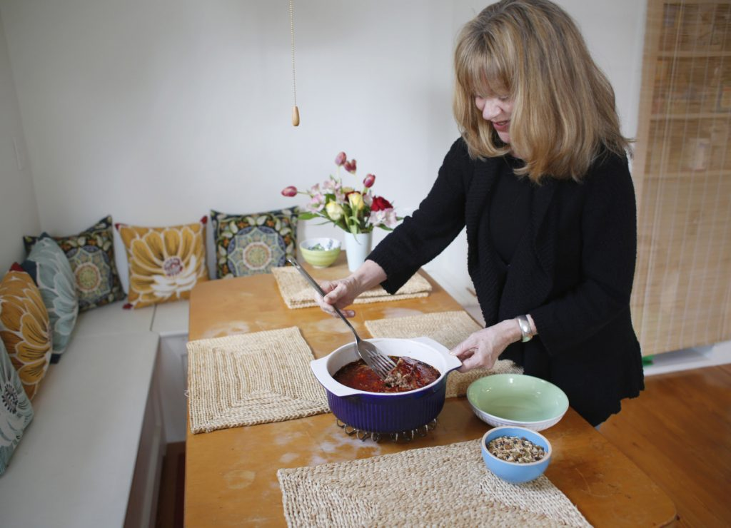 Granola, bringer of crunchy breakfast goodness, binds a meatloaf made by Portland cook and hostess with the mostest creativity, Debra Walton.