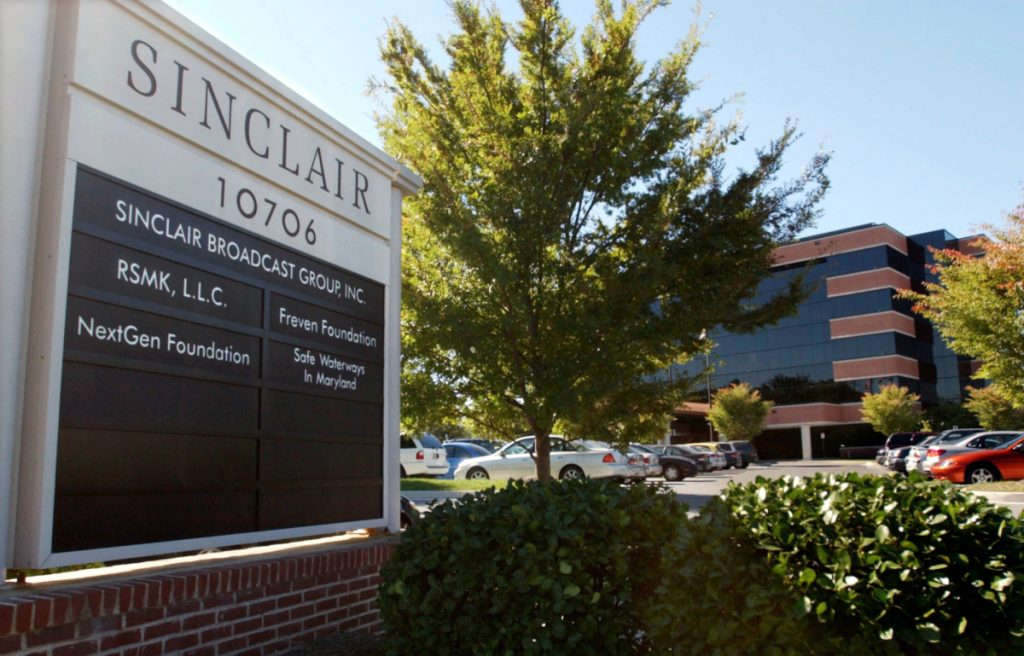 Sinclair Broadcast Group's headquarters in Hunt Valley, Md.  A letter writer finds it disturing that the owner of 200 TV stations, including WGME in Portland, broadcasts