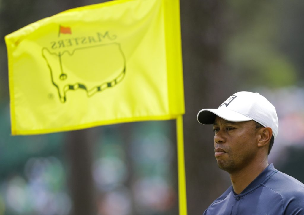 Tiger Woods played a practice round Wednesday for the Masters in Augusta, Ga., where he'll be up against some top young players who idolized him growing up.