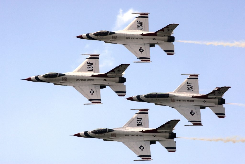 The U. S. Air Force Thunderbirds practice a maneuver during a rehearsal in 2010.