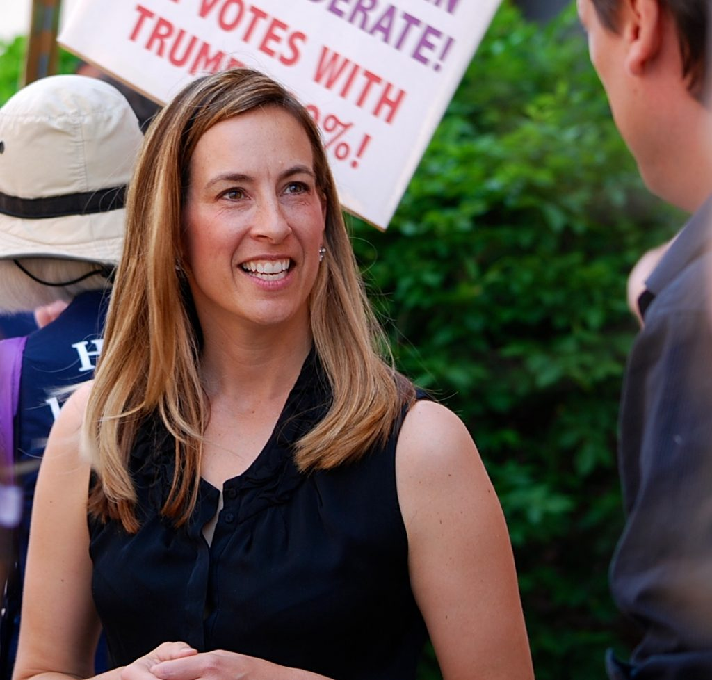 Mikie Sherrill, left, is challenging a Republican incumbent in New Jersey, while, Kara Eastman is challenging a Republican incumbent in Nebraska.