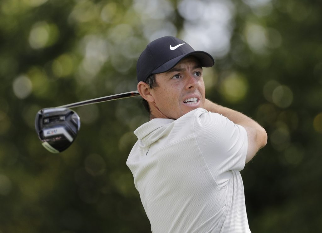 Rory McIlroy hits a drive on the second hole during the second round at the Masters Friday in Augusta, Ga.