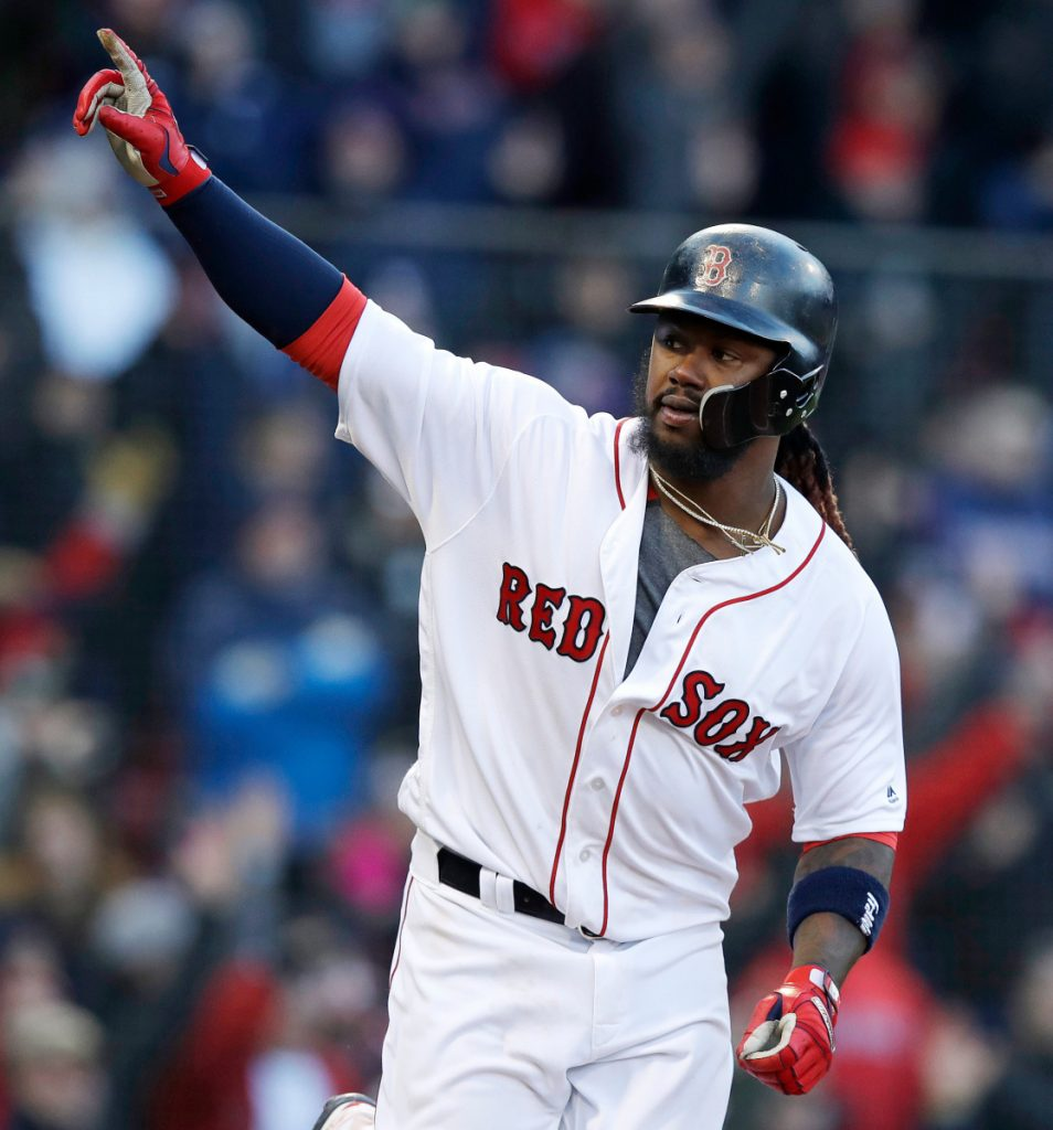 Red Sox DH Hanley Ramirez, the hero in Thursday's home opener against Tampa Bay, says, 'There's no panic in the dugout, everyone is relaxing and just letting things happen.'