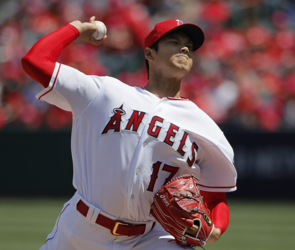 Shohei Ohtani of the Los Angeles Angels allowed no baserunners through six innings and one hit in seven innings.