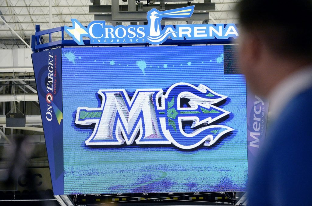 The Maine Mariners unveiled their logo on the scoreboard at Portland's Cross Insurance Arena in November 2017. The new pro hockey team begins play at the arena this fall. (Staff photo by Shawn Patrick Ouellette/Staff Photographer)