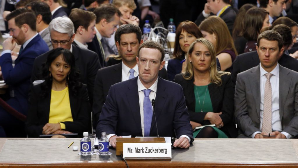 Facebook CEO Mark Zuckerberg testifies before a joint hearing of the Commerce and Judiciary committees on Capitol Hill in Washington on Tuesday about the use of Facebook data to target American voters in the 2016 election.