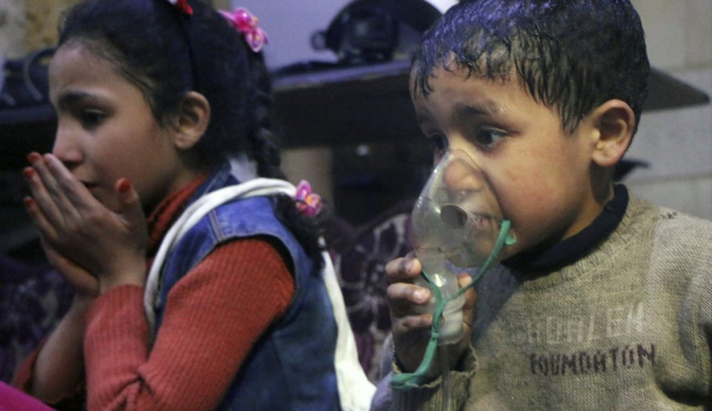 A child receives oxygen through respirators after an alleged poison gas attack in the rebel-held town of Douma, near Damascus, Syria.