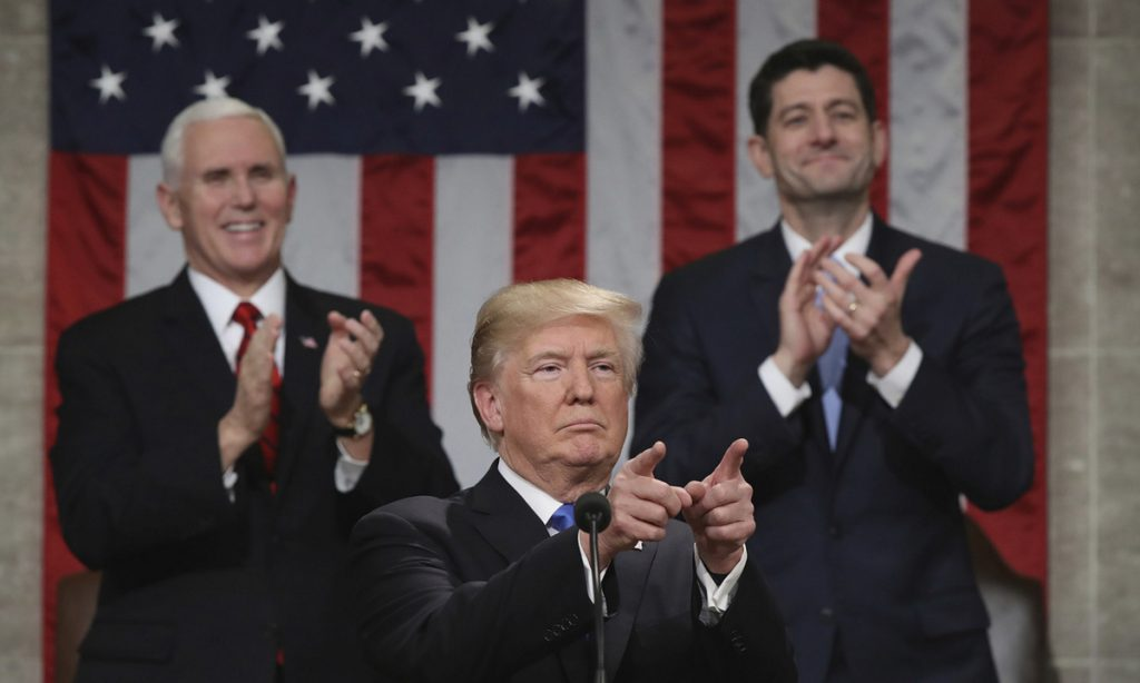 President Trump delivers his first State of the Union address as Vice President Mike Pence and House Speaker Paul Ryan applaud. Under Ryan's House leadership, the deficit has ballooned, spending has increased and Trump's destructive behavior has gone unchecked.