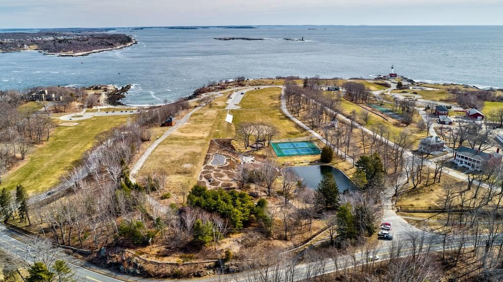 A drone's-eye view April 8 of Fort Williams Park in Cape Elizabeth, where the use of drones may be restricted.