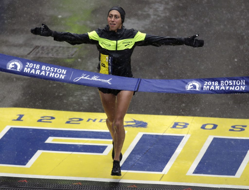 Desiree Linden of Washington, Mich. wins the women's division of the 122nd Boston Marathon on Monday. She is the first American woman to win the race since 1985.