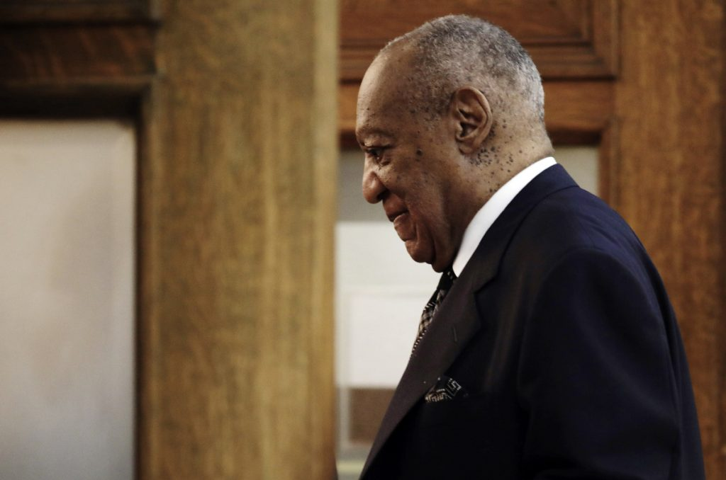 Actor and comedian Bill Cosby returns to the courtroom after a recess in his sexual assault retrial Monday at the Montgomery County Courthouse in Norristown, Pa.