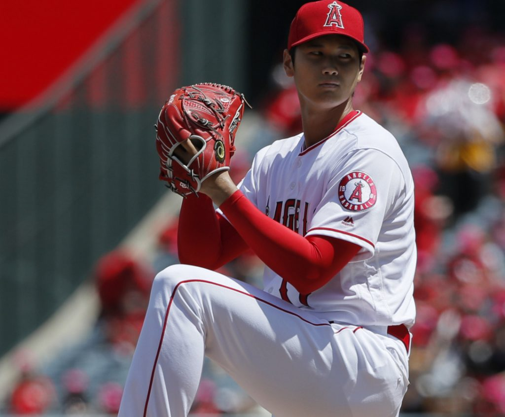 Shohei Ohtani took a perfect game into the seventh inning in his second major league start for the Angels.