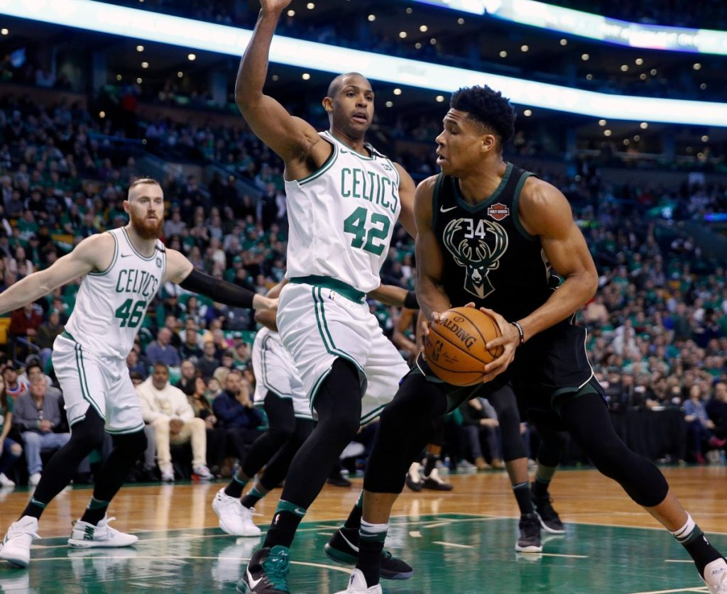 In playing more minutes than any other game this season, Al Horford of the Boston Celtics tried to make things tough for Giannis Antetokounmpo of the Milwaukee Bucks in Game 1.
