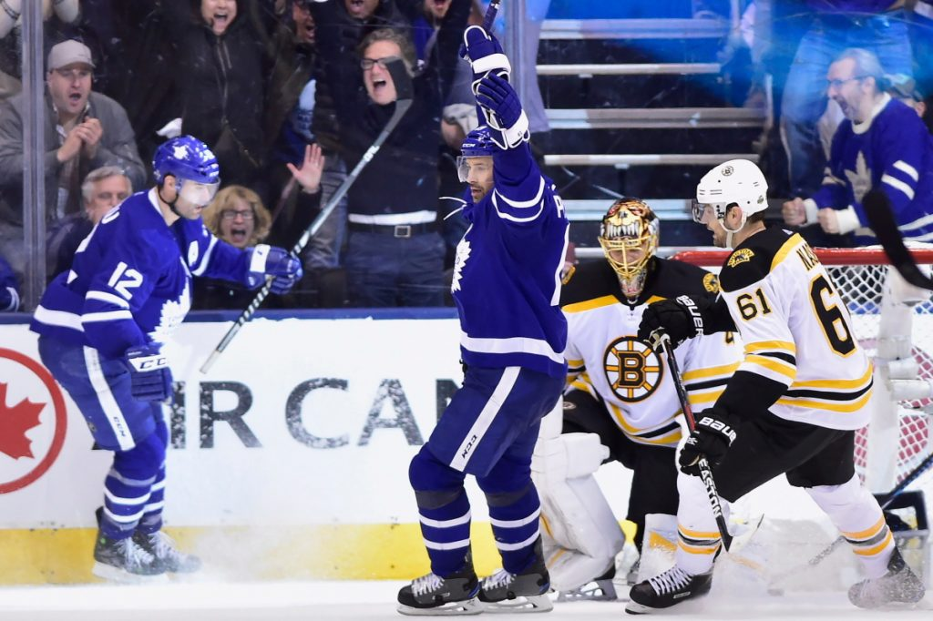 Toronto Maple Leafs centre Patrick Marleau celebrates after scoring on Boston Bruins goaltender Tuukka Rask in the third period of the Maple Leafs' 4-2 win in Game 3 of their first-round series on Monday in Toronto.