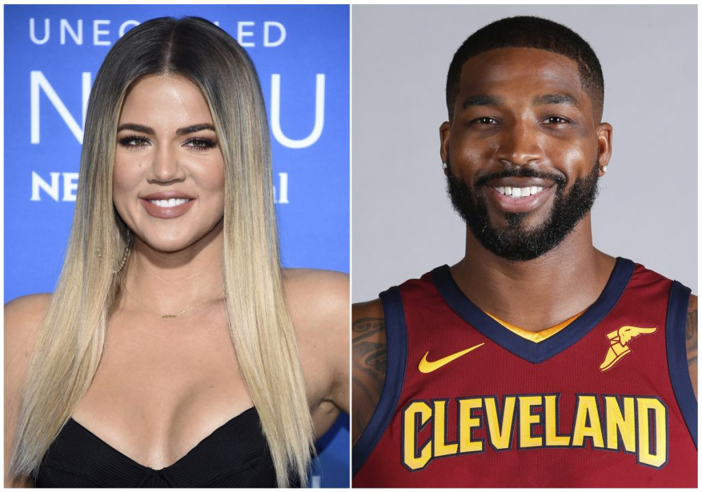 This combination photo shows television personality Khloe Kardashian and Cleveland Cavaliers' Tristan Thompson, have named their baby True.
