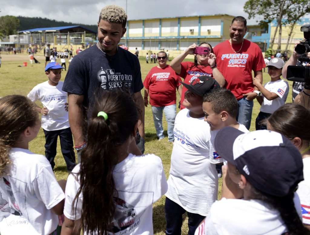 Cleveland shortstop Francisco Lindor visits his former grammar school, Villa Marina Elementary School, in Gurabo, Puerto Rico on Monday. Cleveland and Minnesota are playing two games at Hiram Bithorn Stadium.