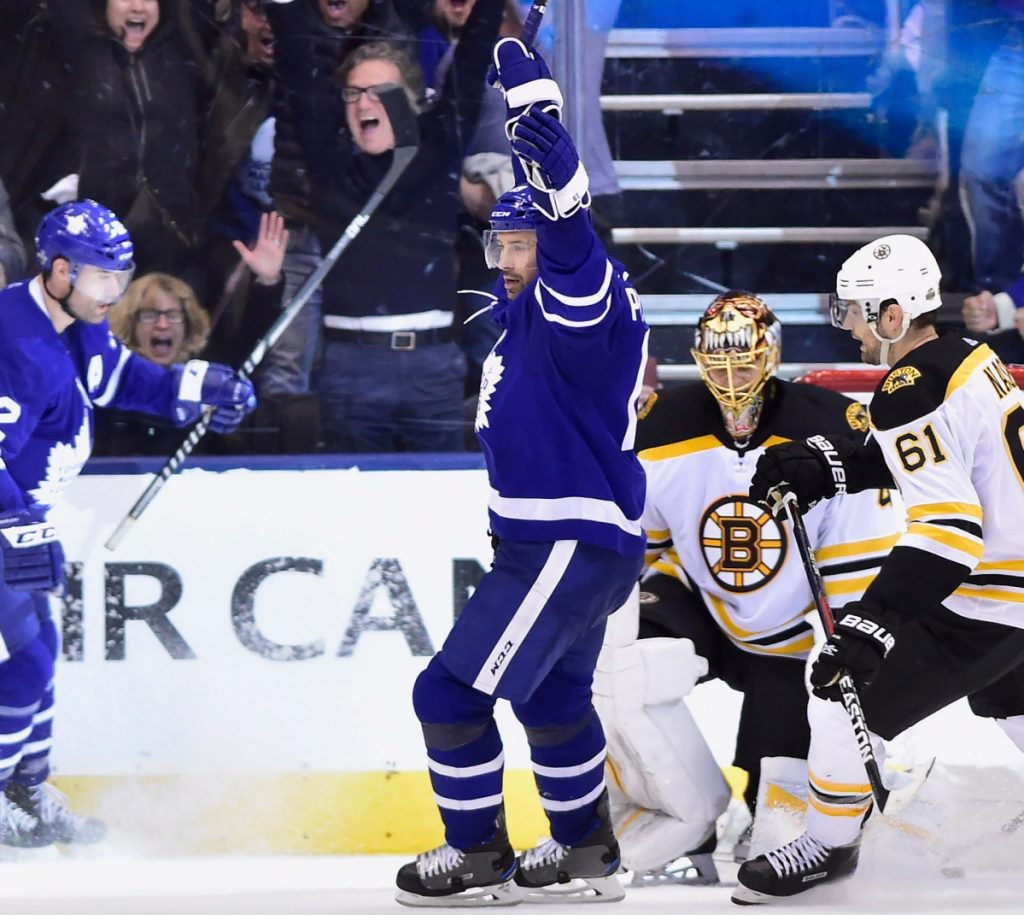 The return home rejuvenated the Maple Leafs Monday night as Patrick Marleau scored two times in a 4-2 win over the Bruins. The Bruins lead the series 2-1, with Game 4 Thursday night in Toronto.
