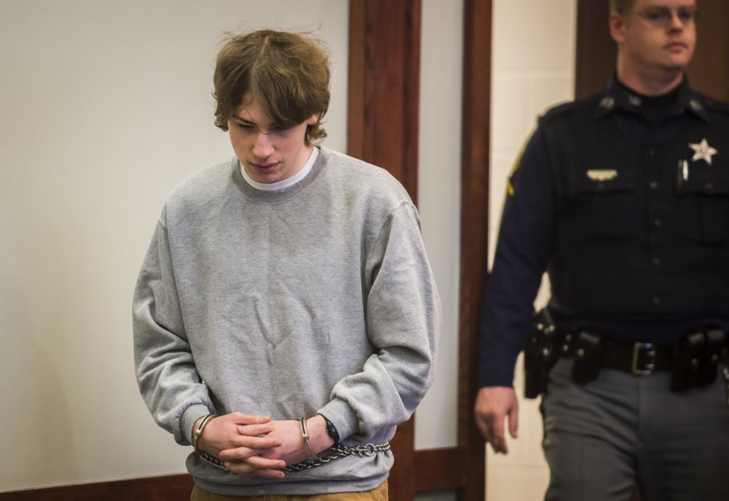 Jack Sawyer appears in Vermont Superior Court for a hearing Tuesday at which his bail was set at $100,000. Prosecutors say Sawyer was planning a school shooting at Fair Haven Union High School in Fair Haven, Vermont.