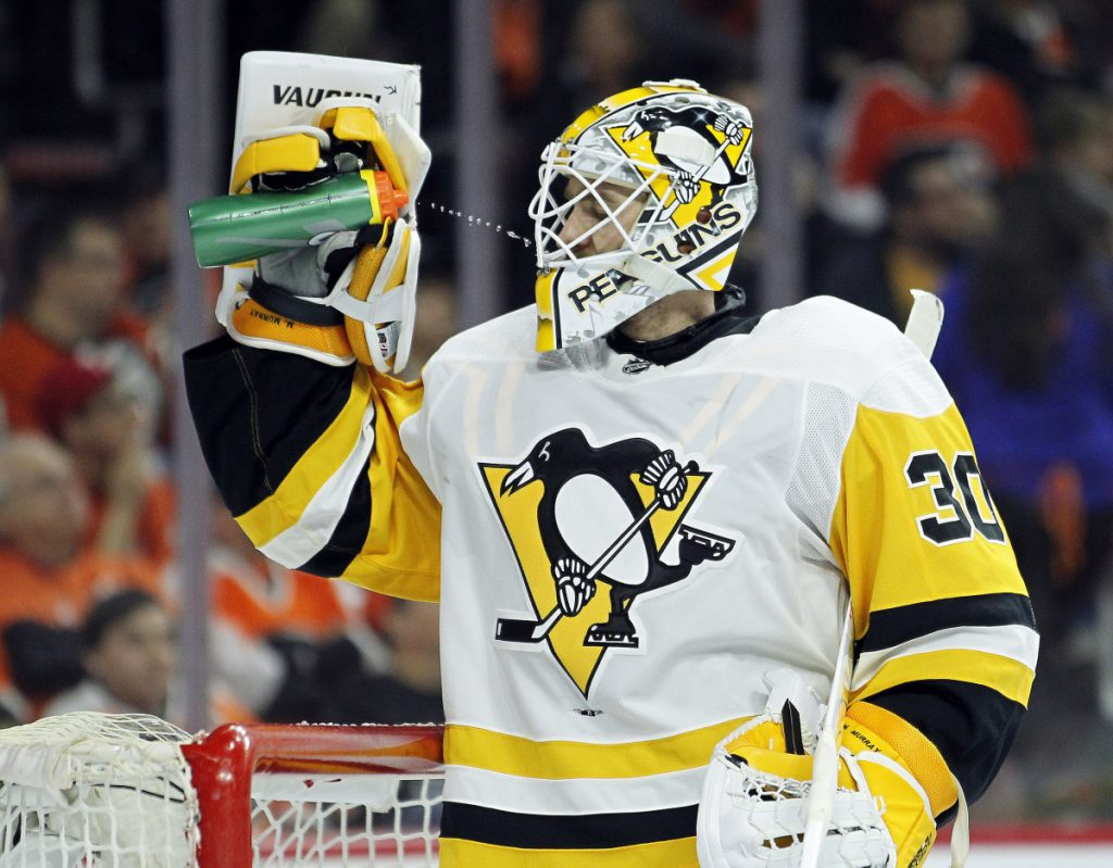 Pittsburgh Penguins' Matthew Murray has some water during a break in the second period in Game 4 against the Philadelphia Flyers on Wednesday in Philadelphia. The Penguins won 5-0.
