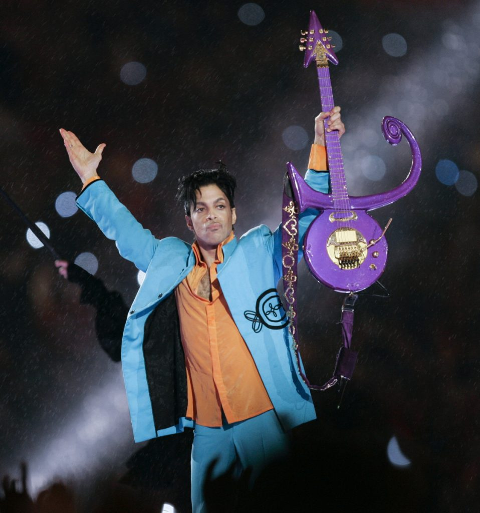 Prince performs Feb. 4, 2007, during halftime of the Super Bowl XLI football game in Miami. Prince was found alone and unresponsive in an elevator at his Paisley Park estate on April 21, 2016. An autopsy found he died of an accidental overdose of fentanyl, a synthetic opioid 50 times more powerful than heroin.