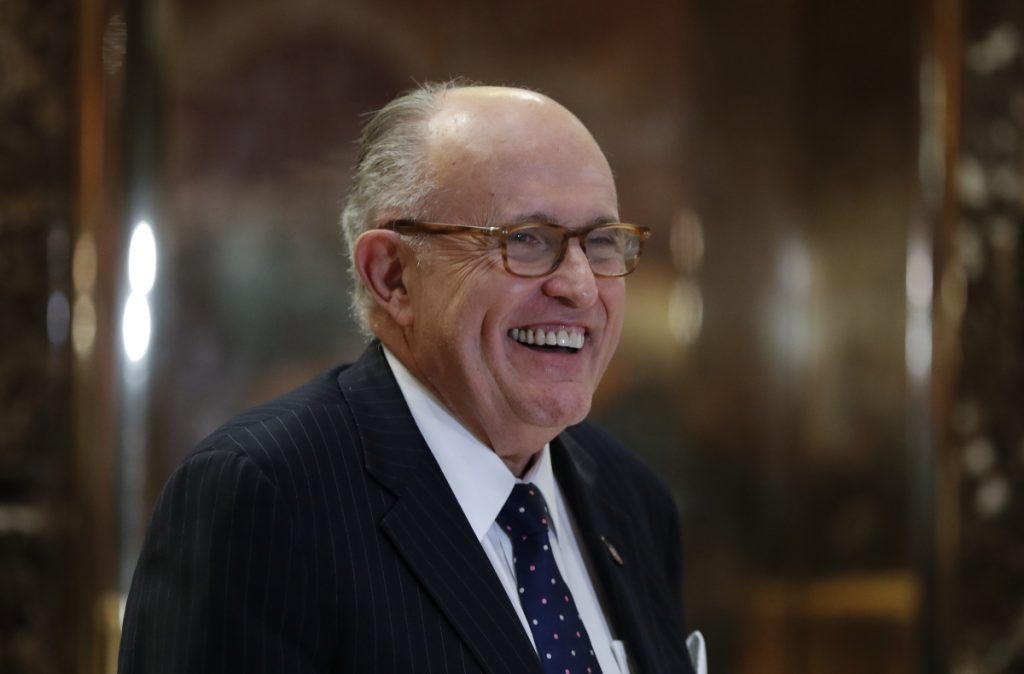 Former New York Mayor Rudy Giuliani, shown at Trump Tower in New York in 2016, met with Trump at Mar-a-Lago last week.