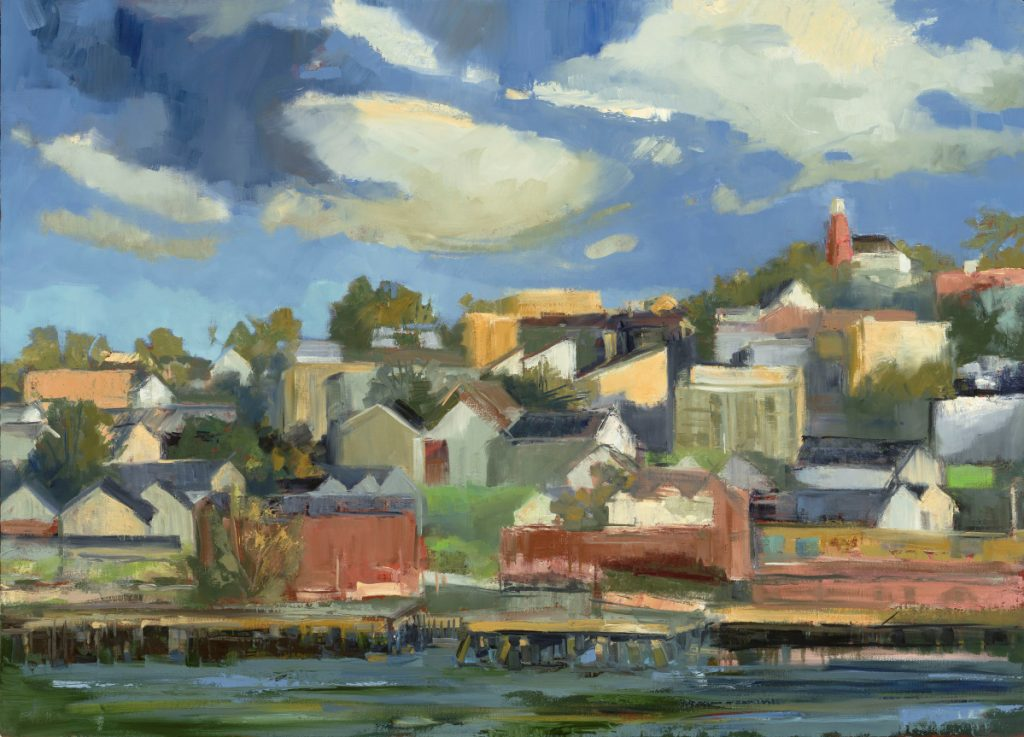 """Kate Emlen, """"Munjoy Hill,"""" oil on linen, 26 by 36 inches."""