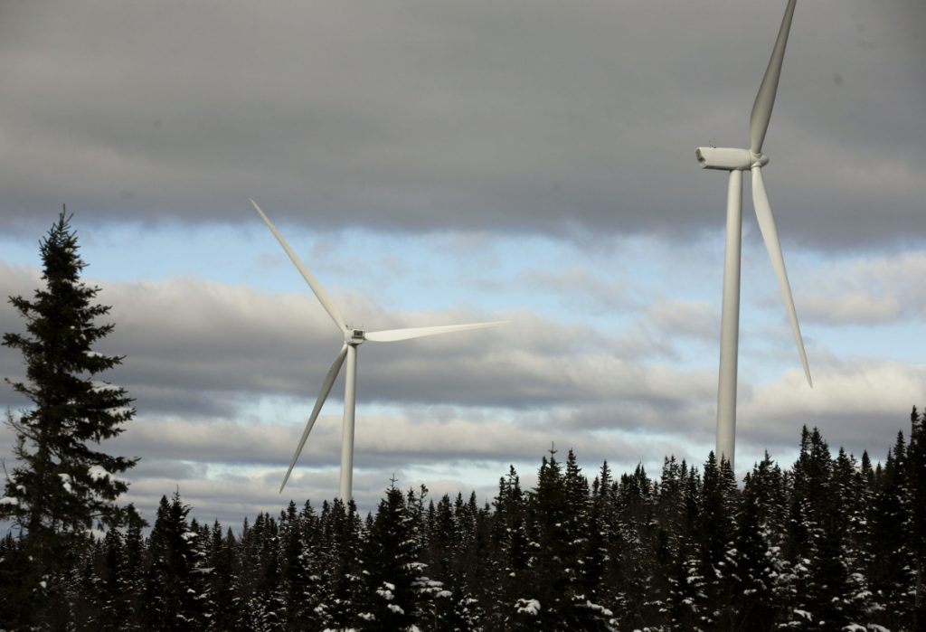 Turbines are seen along western Maine's Kibby Mountain Range in 2009. The state's remote regions are losing visual ground to development.