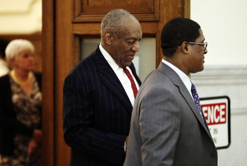Bill Cosby leaves the courtroom after his defense team tried to raise doubts about whether he was at his Philadelphia area home when a woman accused him of sexual assault.