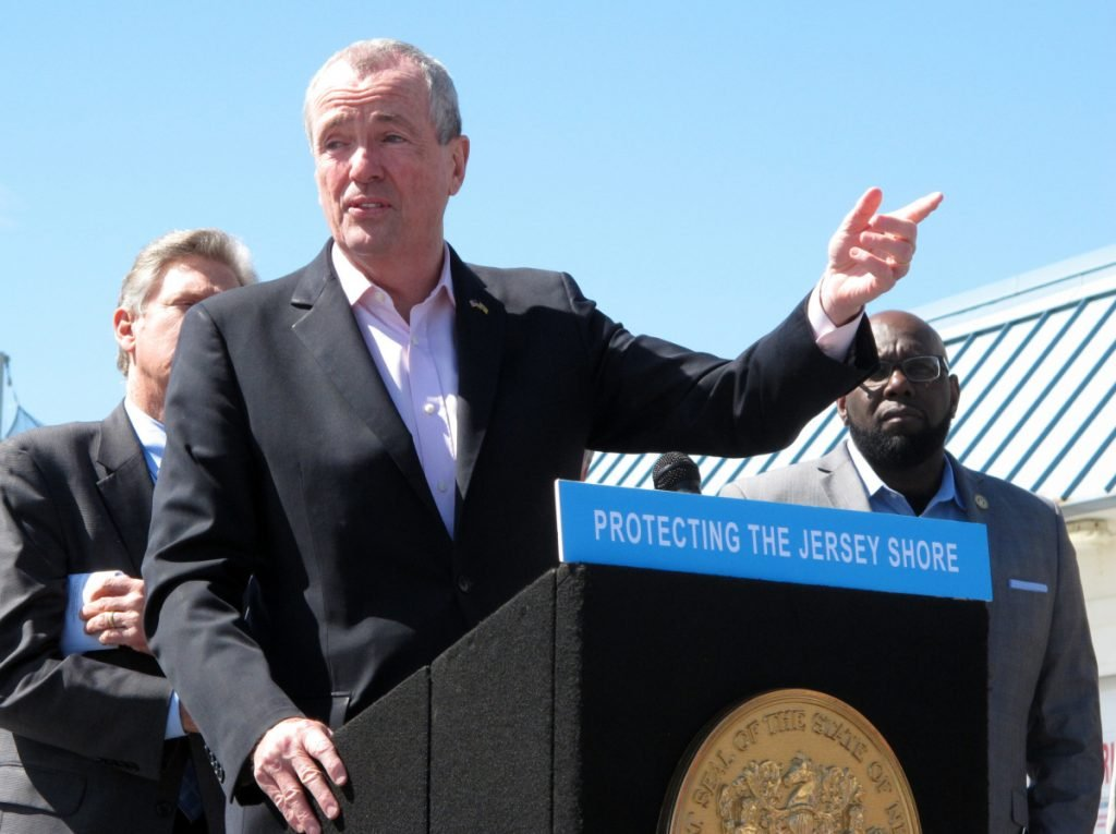 New Jersey Gov. Phil Murphy speaks at a press conference on the boardwalk in Point Pleasant Beach, N.J. on Friday.