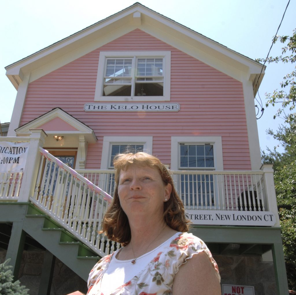 Susette Kelo's little pink house now stands at a new location in New London, Conn., years after the U.S. Supreme Court allowed the city to seize by eminent domain the cottage's original location along the Thames River for the benefit of drugmaker Pfizer, which built a research facility at the site in 2001 only to depart.