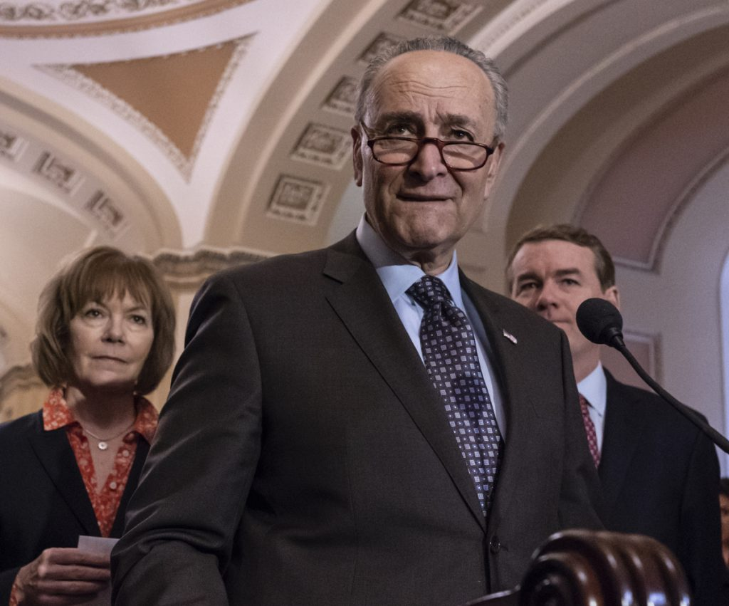 Senate Minority Leader Chuck Schumer, D-N.Y., says his thinking has 'evolved' on marijuana, and now favors its decriminalization at the federal level. Associated Press/J. Scott Applewhite