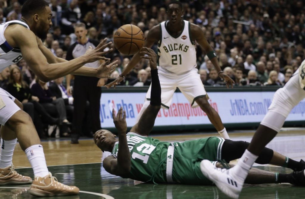 Terry Rozier had five turnovers, four in the first quarter, and the Celtics struggle to get going in Game 3 of their first round series against Milwaukee on Friday. The Bucks started fast and cut Boston's series lead to 2-1.