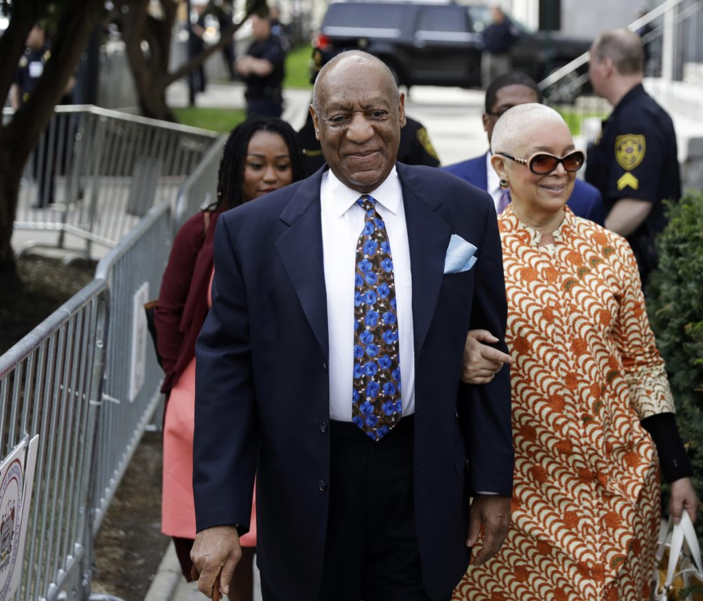 One-time comedy icon Bill Cosby arrives with his wife, Camille, for his sexual assault trial, Tuesday, at the Montgomery County Courthouse in Norristown, Pa.