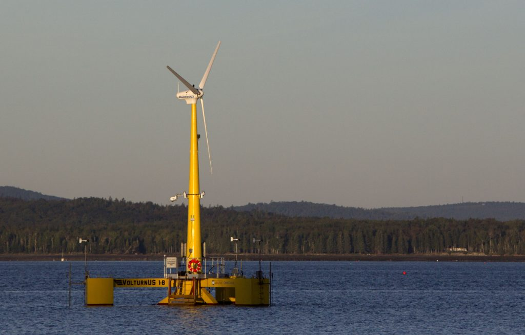 Volturn US generates power off Castine in 2013. The prototype is a scale model of the floating turbines to be used in a wind project planned for deep water off Monhegan Island – if the state doesn't renege on an agreement to buy clean, home-grown energy.