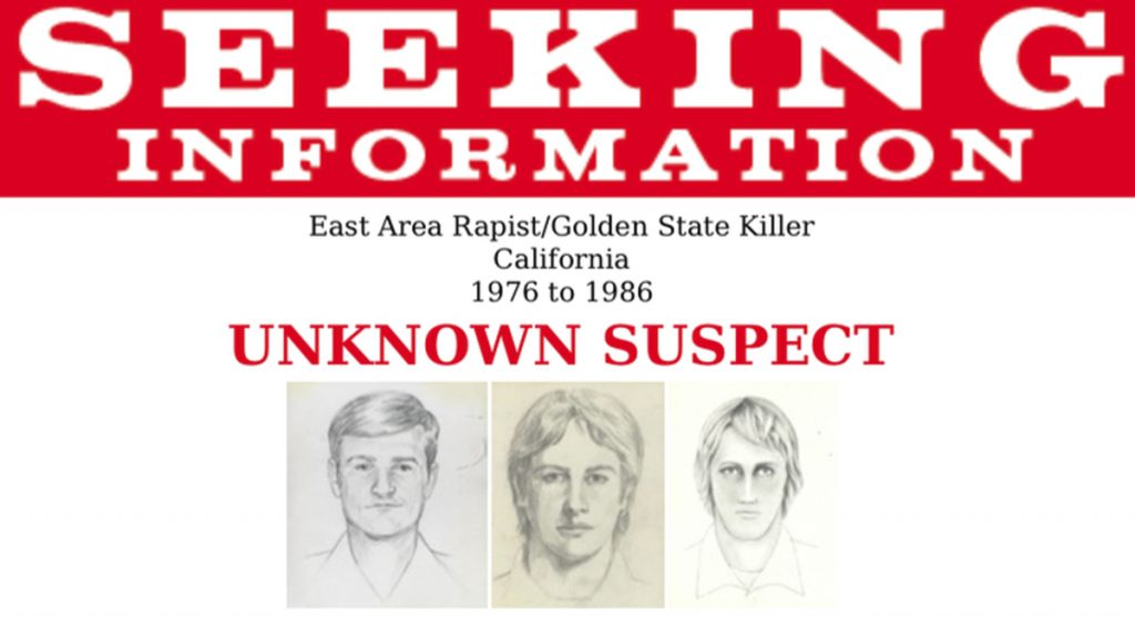 """This undated wanted poster shows artist renderings of the serial killer and rapist whose terrifying rampage started near California's capital city, shattering what one official said had been a """"time of innocence."""""""