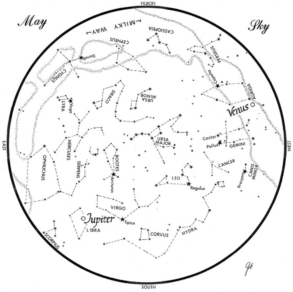 SKY GUIDE: This chart represents the sky as it appears over Maine during May. The stars are shown as they appear at 10:30 p.m. early in the month, at 9:30 p.m. at midmonth and at 8:30 p.m. at month's end. Jupiter and Venus are shown in their midmonth positions. To use the map, hold it vertically and turn it so that the direction you are facing is at the bottom.
