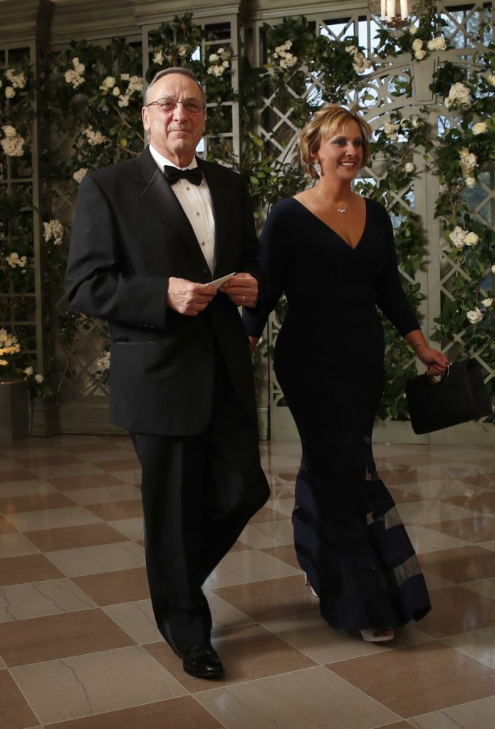 Maine Gov. Paul LePage and his daughter Lauren LePage arrive for Tuesday's state dinner in Washington. Both the governor and President Trump can be credited as strong, supportive fathers of their daughters.
